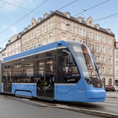 Avenio streetcar in Munich with push buttons from TSL
