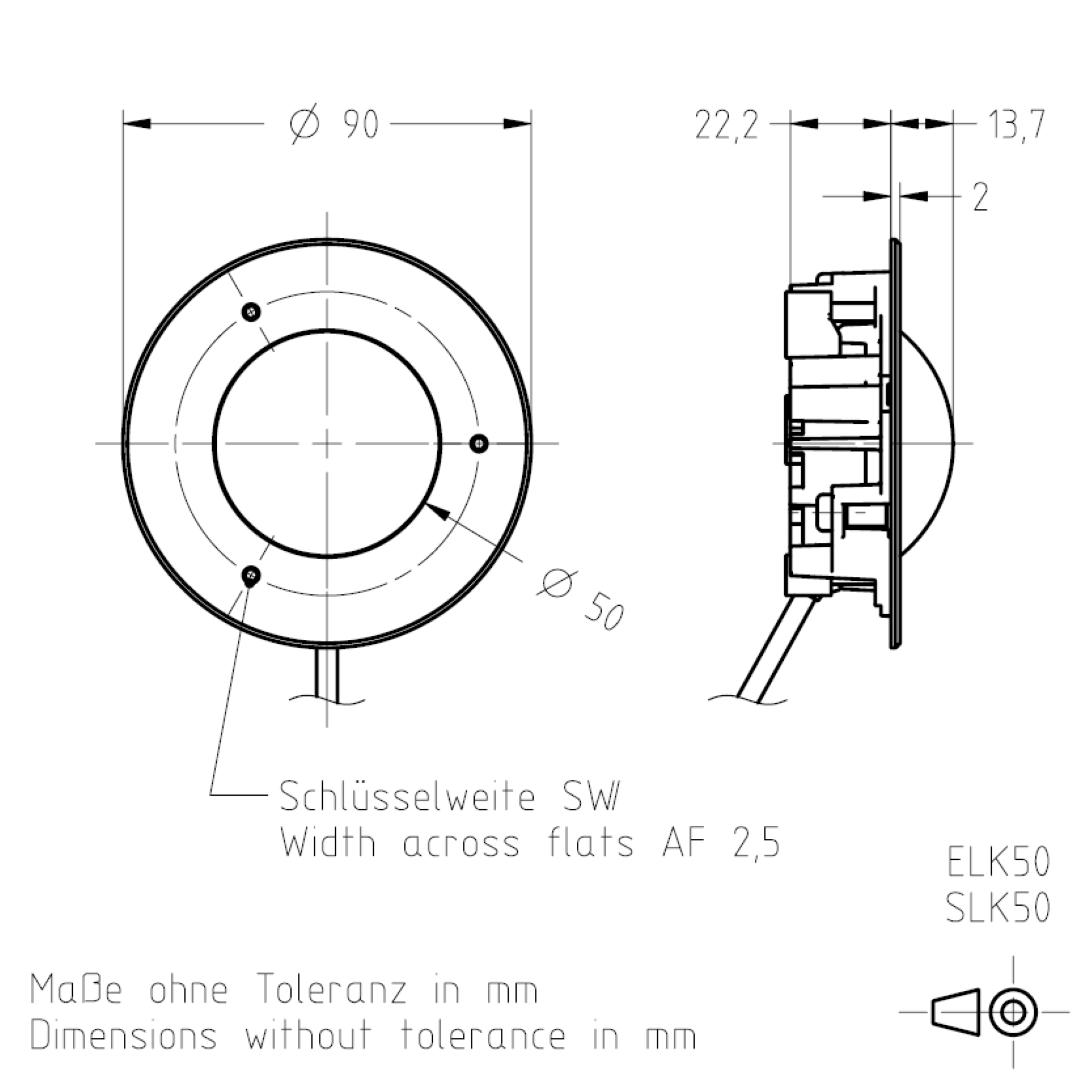 Masszeichnung ELK50/SLK50 TSL-ESCHA
