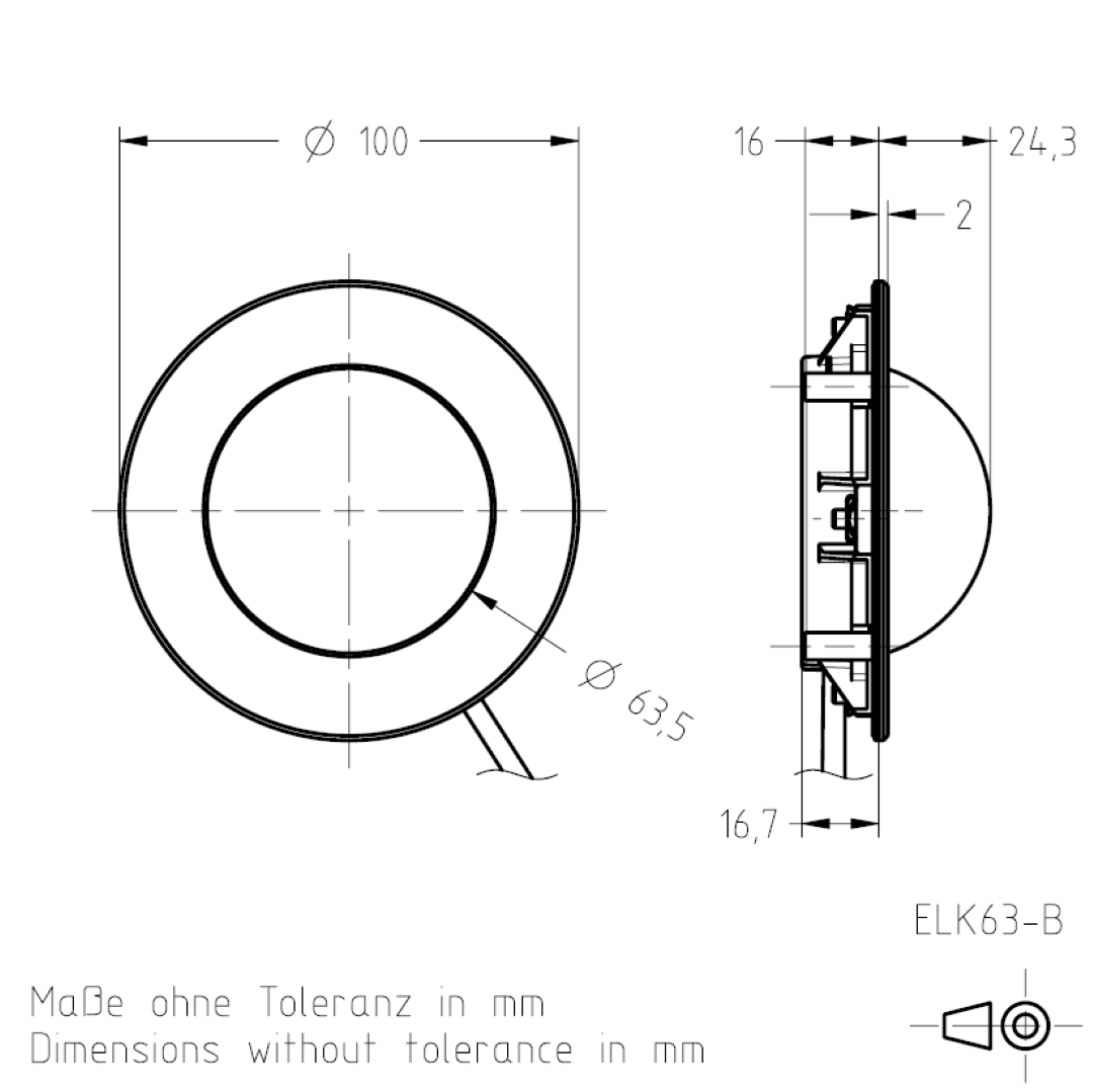 Masszeichnung Enbauleuchte ELK63 TSL-ESCHA