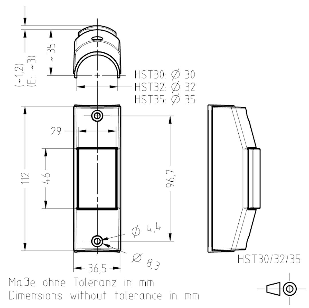 Masszeichnung HST30/32/35 TSL-ESCHA