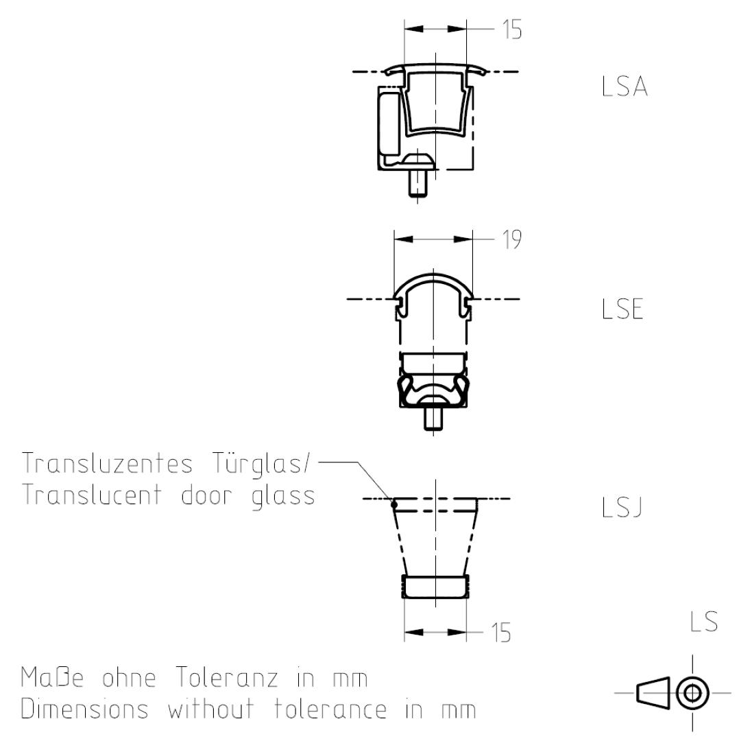 Masszeichnung Leuchtstreifen LS TSL-ESCHA