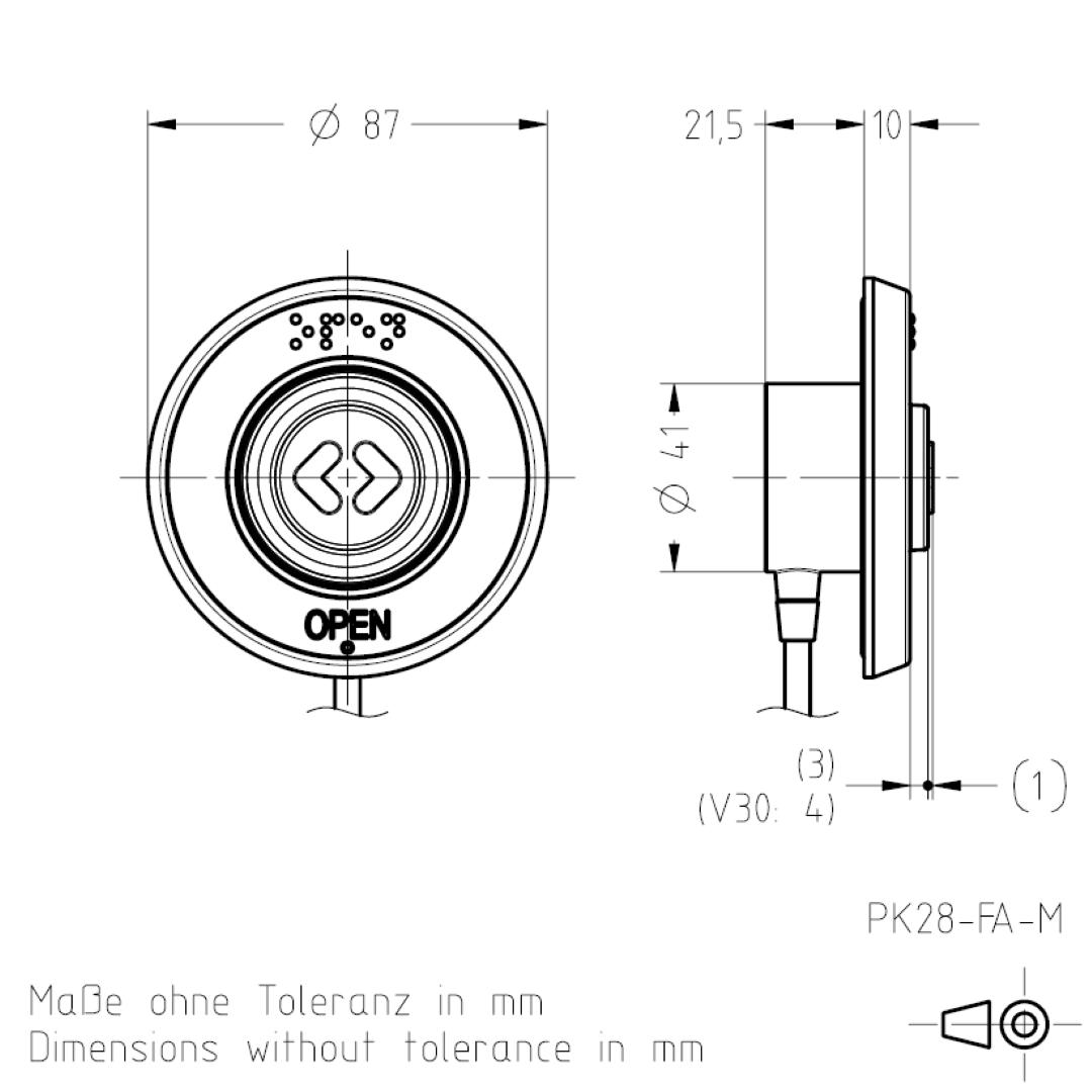 Masszeichnung PK28FA TSL-ESCHA