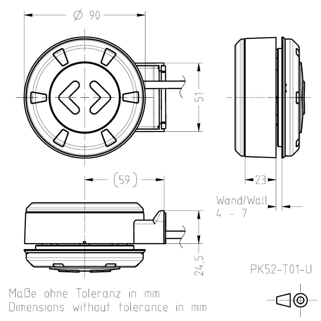 Masszeichnung PK52 für den Glaseinbau