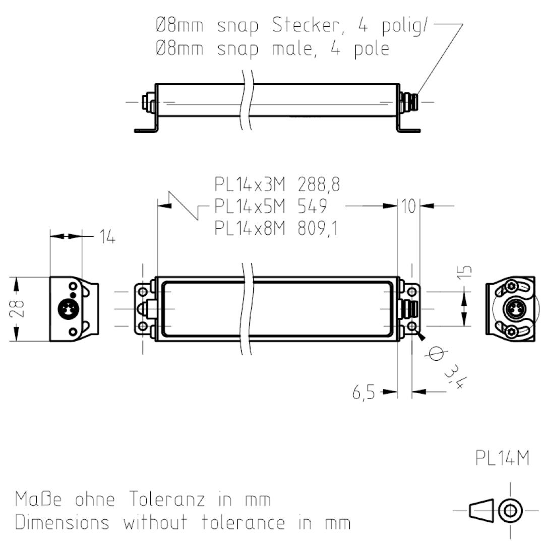 Masszeichnung PL14M TSL-ESCHA