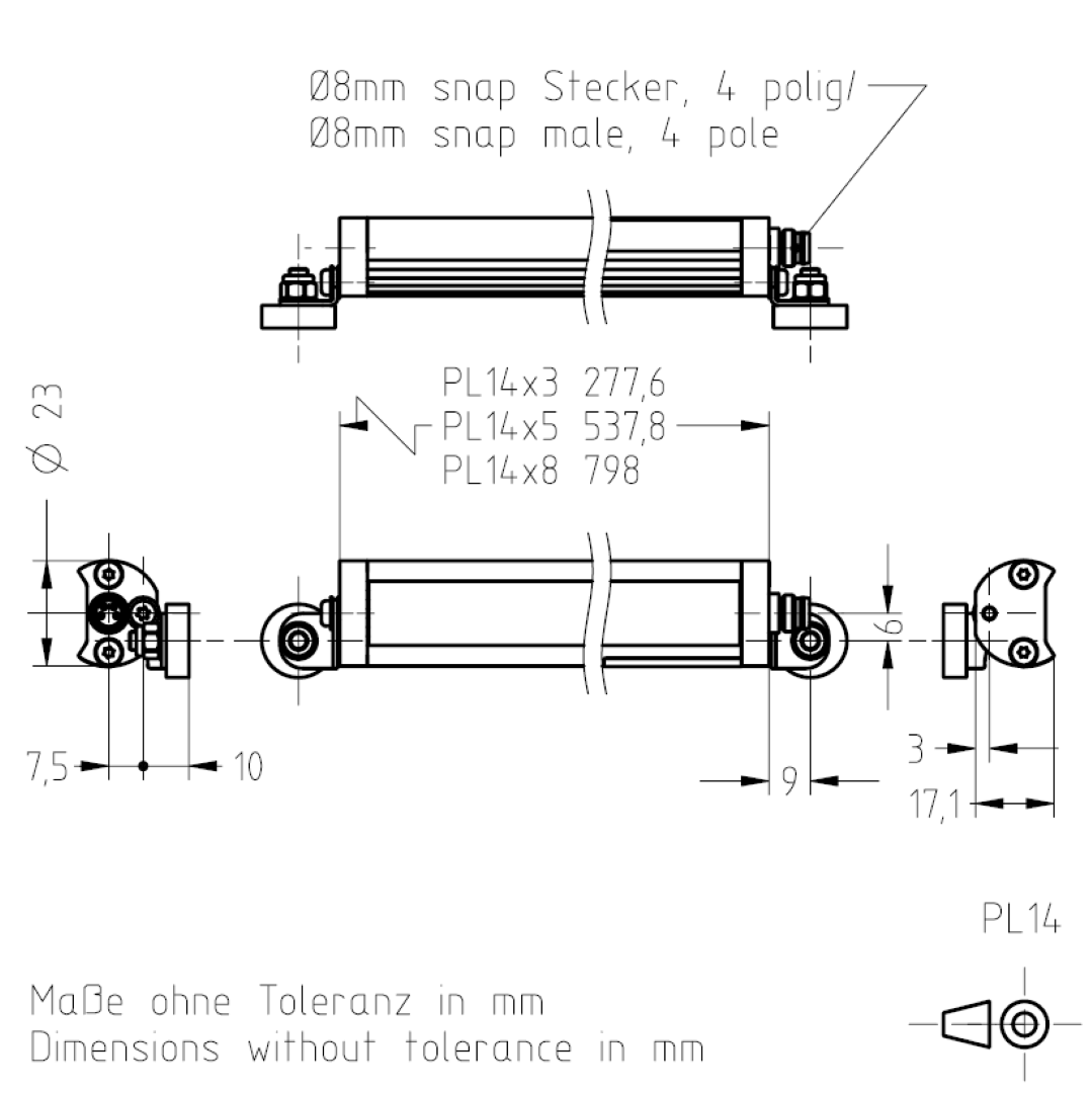 Masszeichnung PL14 TSL-ESCHA