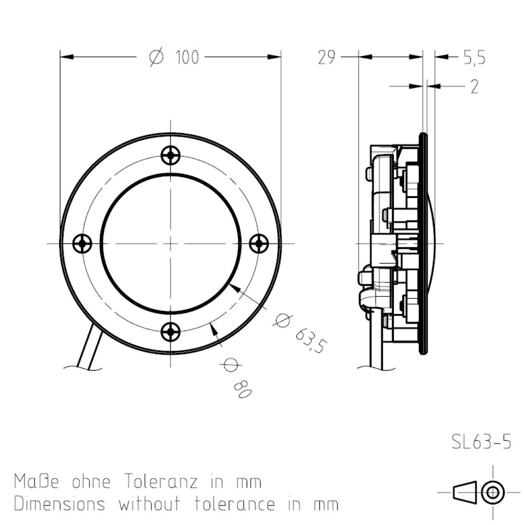 Masszeichnung Signalleuchte SL63 TSL-ESCHA