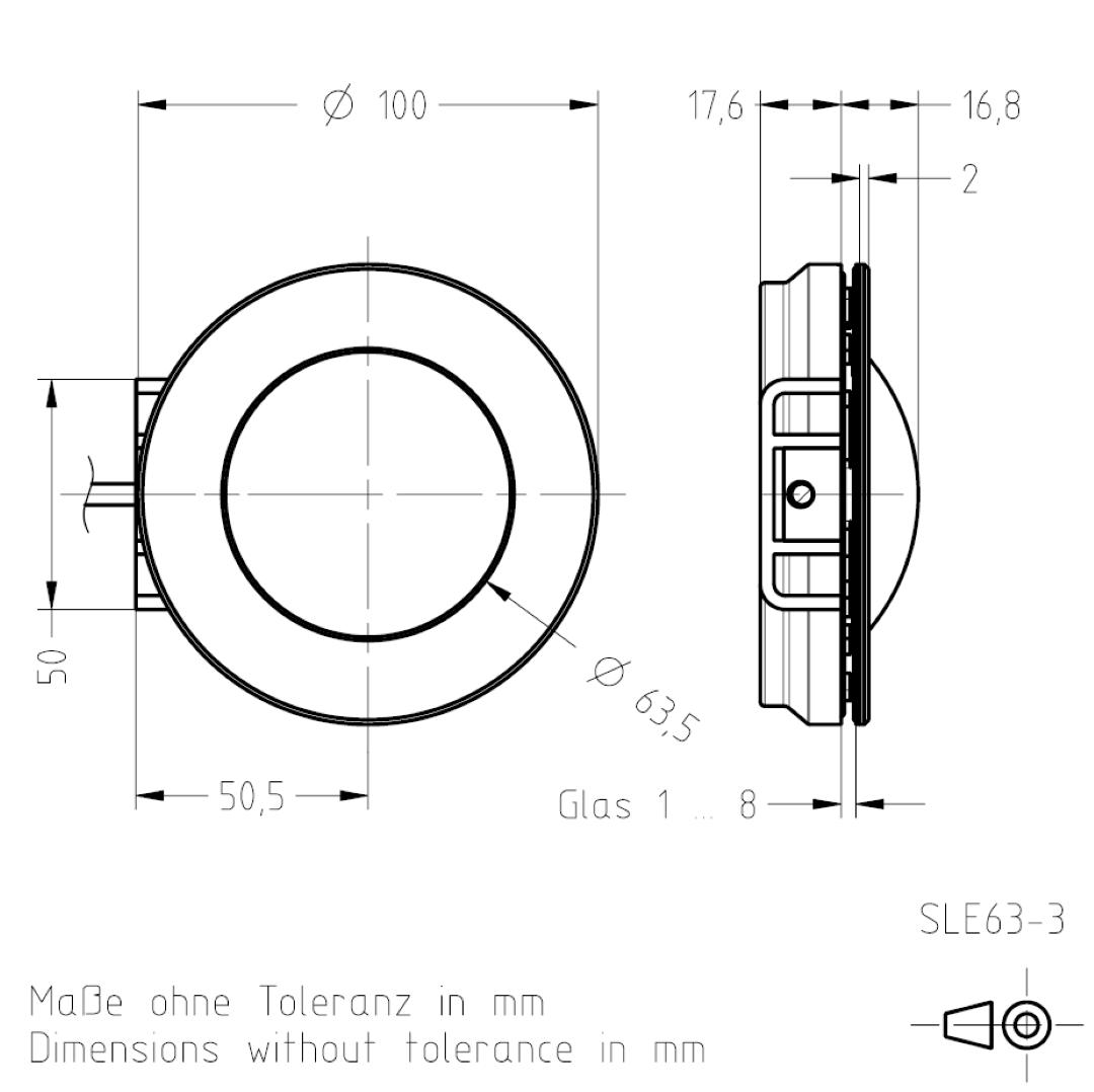 Masszeichnung Signalleuchte SLE63 TSL-ESCHA