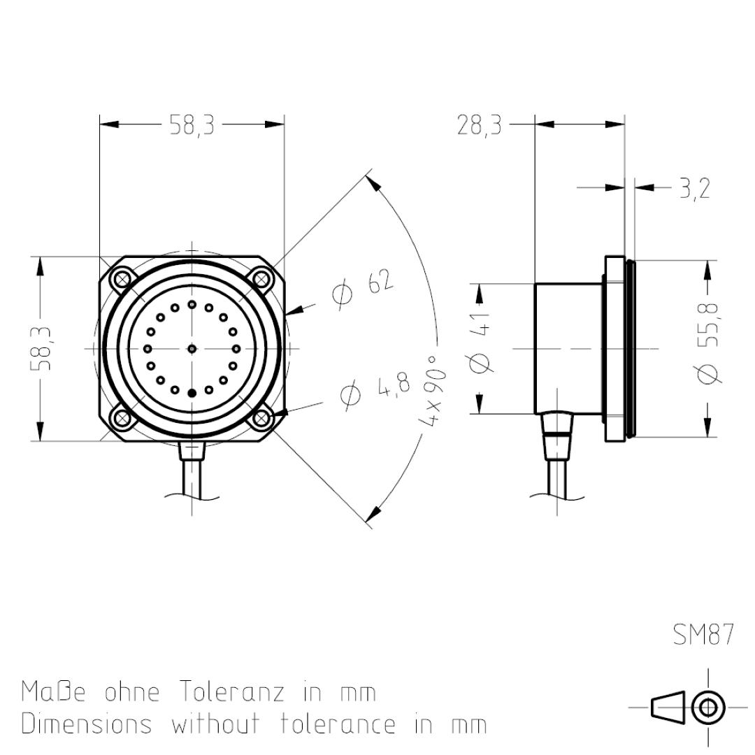Masszeichnung SM87 TSL-ESCHA